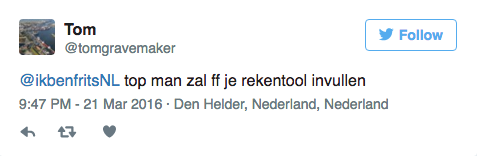 Ikbenfrits op TV bij Radar tweet top man