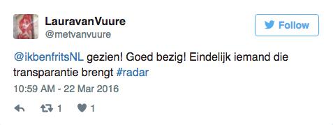 Ikbenfrits op tv bij Radar tweet goed bezig